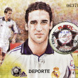 Stock Photo: Stamp shows Raul, emblematic player of real madrid football