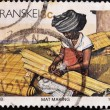 Stamp shows woman doing mat — Stock Photo