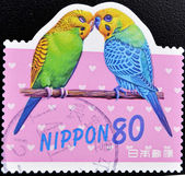 Stamp shows two parrots — Stock Photo
