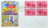 Stamp shows Betsy Ross Showing Flag to Gen George Washington — Foto Stock