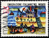 Stamp which refers to the Italian emigration in the world — Stock Photo