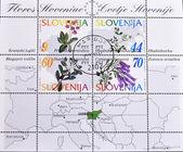 Slowenien - circa 1994: eine Briefmarke gedruckt in Slowenien zeigt verschiedene Blumen, ca. 1994 — Stockfoto