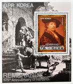 Stamp shows Rembrandt self-portrait — Stock Photo