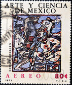 Stamp shows an image relating to pre-Columbian Mexican art — Stock Photo