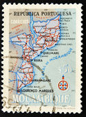 Stamp showing map of Mozambique — Stock Photo