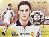 Stamp shows Raul, emblematic player of real madrid football — Stock Photo