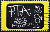 Stamp shows image celebrating the 75th anniversary of the Parent Teacher — Stock Photo