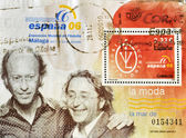 Stamp shows the famous fashion designers Victorio and Lucchino — Stock Photo