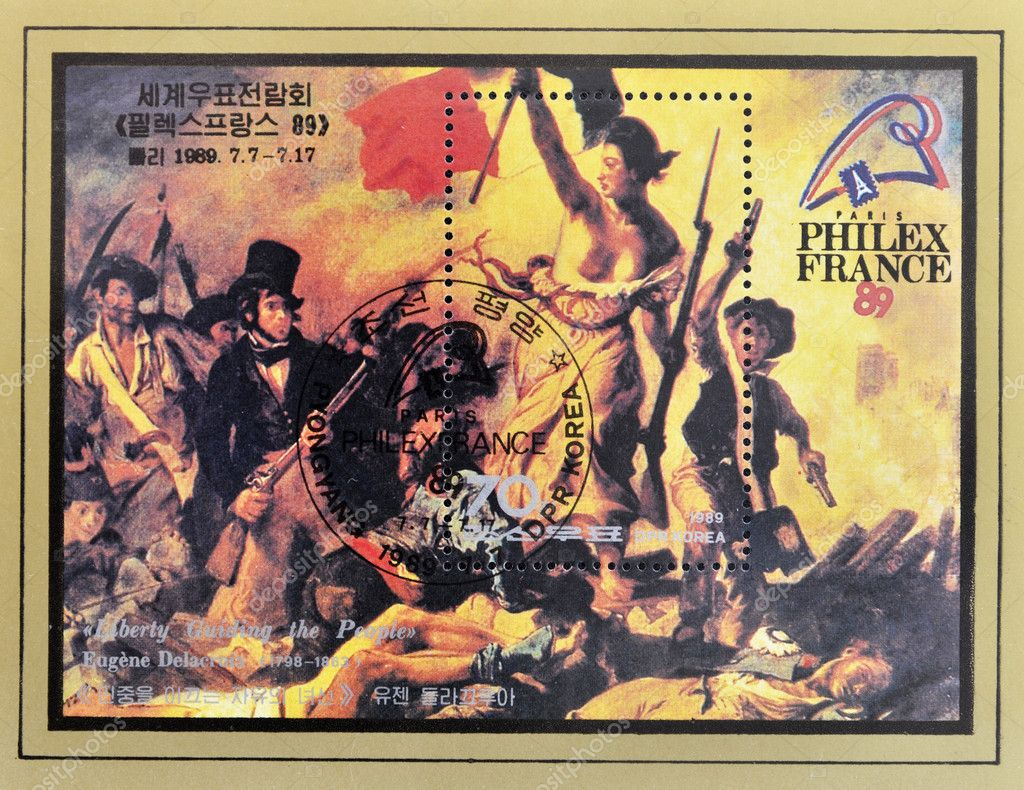 DPR KOREA - CIRCA 1989: A stamp printed in North Korea shows the Liberty Leading the , painting by Eugene Delacroix, circa 1989  Stock Photo #6987965