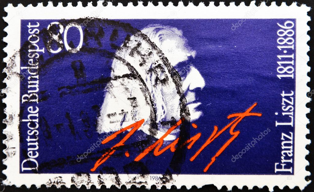 GERMANY - CIRCA 1986: A stamp printed in Germany, shows portrait Franz Liszt, circa 1986. — Lizenzfreies Foto #6987968
