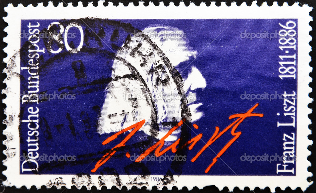 GERMANY - CIRCA 1986: A stamp printed in Germany, shows portrait Franz Liszt, circa 1986. — Stockfoto #6987968