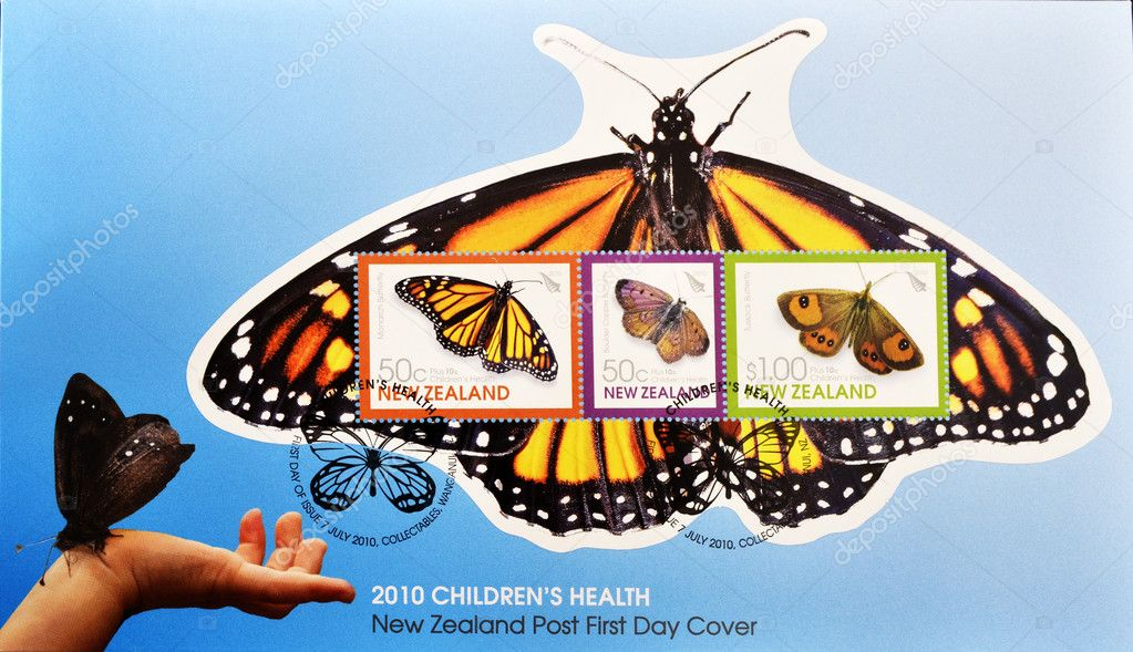NEW ZEALAND - CIRCA 2010: A stamp printed in New Zealand shows different butterflies, circa 2010  — Stock Photo #6987979