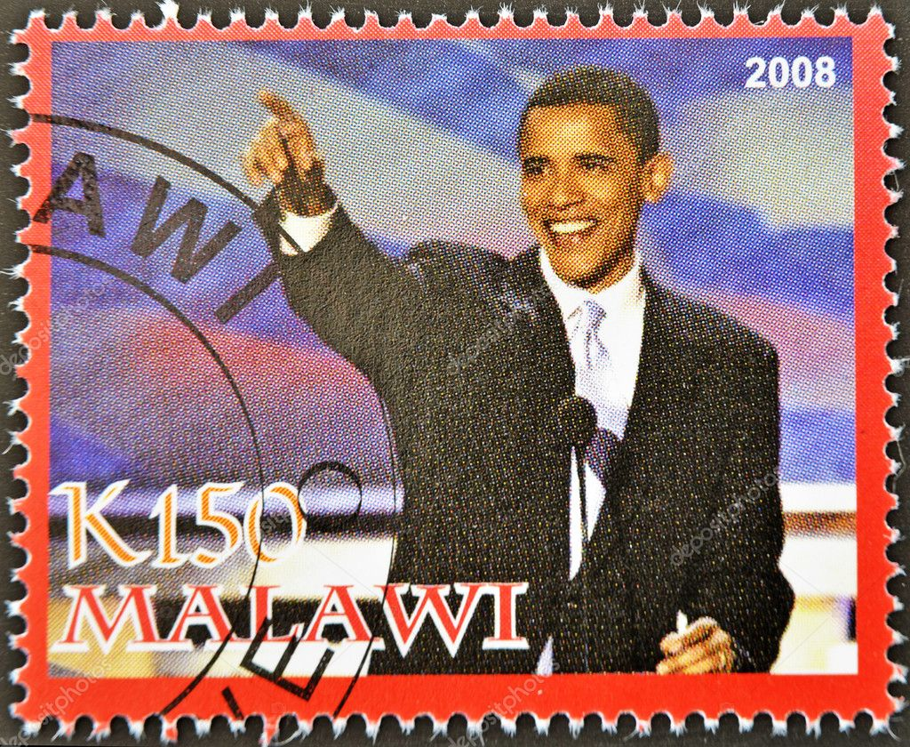 MALAWI - CIRCA 2008: A stamp printed in Malawi shows the 44th President of United States of America, Barack Obama, circa 2008  — Stock Photo #6988033