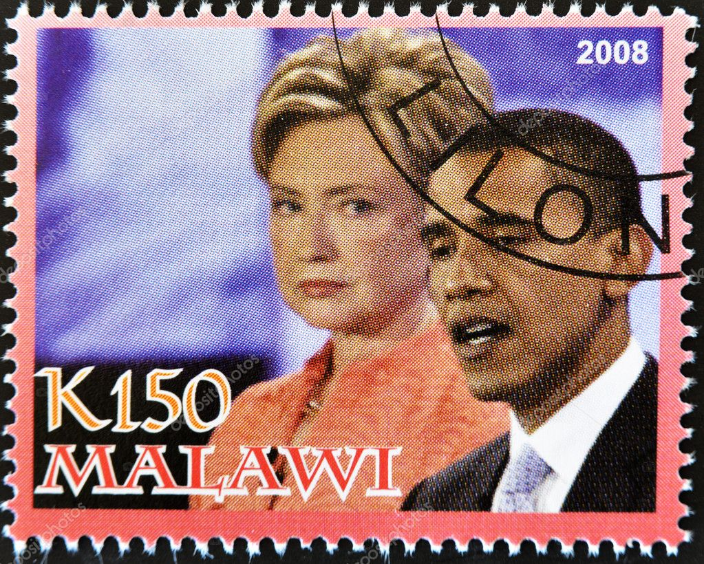 MALAWI - CIRCA 2008: A stamp printed in Malawi shows the 44th President of United States of America, Barack Obama with Hillary Clinton, circa 2008 — Stock Photo #6988039
