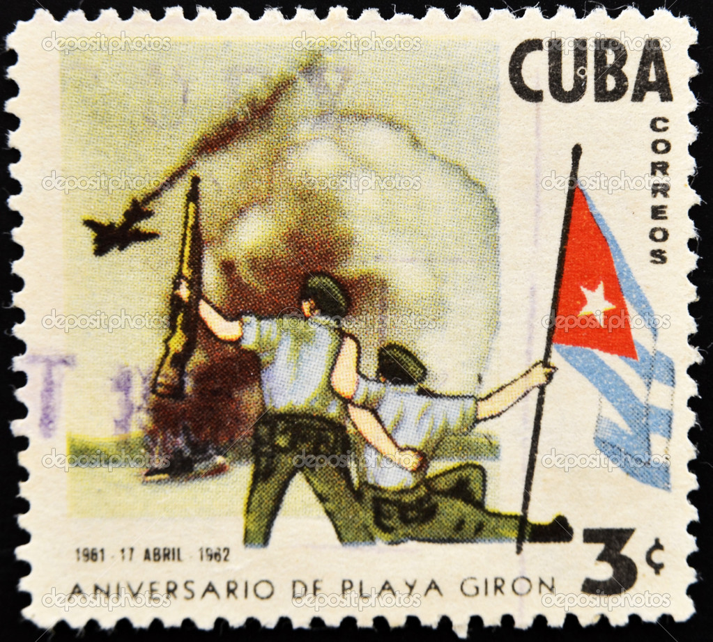 CUBA - CIRCA 1962: A stamp printed in Cuba commemorating the Bay of Pigs Invasion, circa 1962 — Stock Photo #6988086