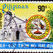 Stamp shows a church in the municipality of Balayan — Stock Photo
