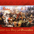Stamp shows picture of the battle of Grunwald - Stock Photo