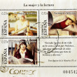 Stamp shows images related to women and reading, — Stock Photo