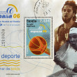 Stamp shows Spanish athletes Pau Gasol and Rafael Nadal - Stock Photo
