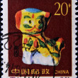 Stamp shows porcelain dog (the year of the dog) — Stock Photo