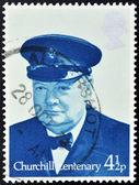 Stamp shows Sir Winston Spencer Churchill British statesman — Stock Photo