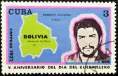 Stamp shows the image of Che Guevara and the map of Bolivia — Stock Photo