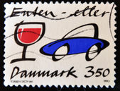 Stamp shows a car and wine glass — Stock Photo