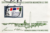 Stamp shows sixt international philatelic exhibition, Washington D.C — Stock Photo
