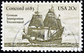 Stamp shows Concord 1683 — Stock Photo