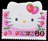 Stamp shows the cartoon character, Hello Kitty — Stock Photo