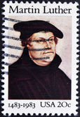 Stamp shows image portrait Martin Luther — Stock Photo