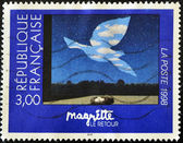 "Stamp shows the painting ""Le retour"" by Magritte — Stock Photo"