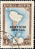 Stamp shows Map of South America — Stock Photo