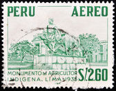 Stamp shows monument to the indigenous farmer — Stock Photo