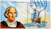 O selo mostra o navio fragata de christopher columbus — Fotografia Stock