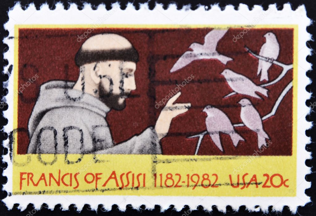 UNITED STATES OF AMERICA - CIRCA 1982: A stamp printed in USA shows St. Francis of Assisi, circa 1982  — Stock Photo #6993535