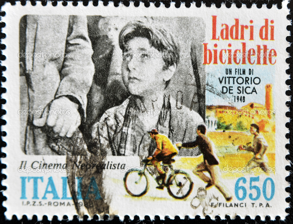 ITALY - CIRCA 1988: A stamp printed in Italy shows Bicycle Thief image, film by Vittorio de Sicca, circa 1988   Stock Photo #6993709