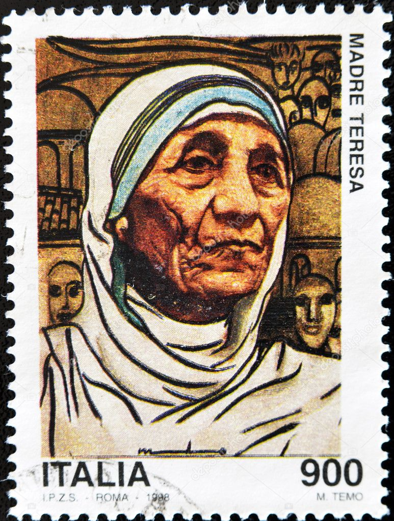 ITALY - CIRCA 1998: A stamp printed in Italy shows Mother Teresa, circa 1998  — Stock Photo #6993923