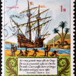 Stock Photo: Stamp printed in Portuguese Republic commemorating fourth centenary of lusiadas