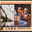 CUB- CIRC1982: stamp printed in Cubshown Cristobal Colon in commemoration of discovery of america — Stock Photo #7201549