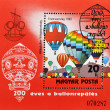 Stock Photo: HUNGARY - CIRCA 1983: A stamp printed in Hungary commemorating 200 years of ballooning, circa 1983
