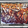 MEXICO - CIRCA 1981: A stamp printed in Mexico shows a detail of the martyrs of Cananea painting, the painter Siqueiros, circa 1981 — Stock Photo