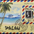 PALAU - CIRCA 1990: A stamp printed in the Republic of Palau commemorates the anniversary of the world´s first postage stamp, the british one penny black of 1840, circa 1990 — Stock Photo