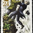Постер, плакат: Stamp shows Sherlock Holmes and Moriarty