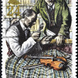 Stamp shows Sherlock Holmes and Dr. Watson — Stock Photo