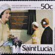 Stamp shows queen Elizabeth II opening leon hess school — Stock Photo