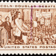 Stock Photo: Stamp shows Lincoln - Douglas Debate of 1858