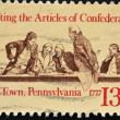 Stamp shows Drafting the Articles of Confederation — Stock Photo