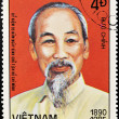 VIETNAM - CIRCA 1985: A stamp printed in Vietnam shows Ho Chi Minh, circa 1985 — Stock Photo