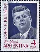 Stamp shows president John F Kennedy — Stock Photo